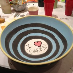 Paint your own pottery at Fired Up in Branford, CT. I <3 carbs pasta bowl