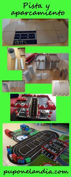 Caretera y aparcamiento de cartón - Juegos de cartón - Giochi di cartone - Cardboard Toys puponelandia.com