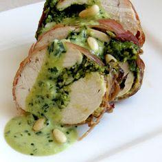Dragon's Kitchen: Pesto Stuffed Chicken Wrapped in Prosciutto With Pesto Cream Sauce