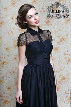 """Купить Платье """"Грейс"""" черное шелковое - черный, черное платье, черное длинное платье"""