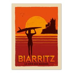 "Vintage Poster Biarritz ""Côte des Basques"" - Marcel Travel Poster Size 50 cm x 70 cm Gig Poster, Poster Surf, Posters Decor, Room Posters, Image Surf, Surf Vintage, Vintage Room, Vintage Kitchen, Marcel"