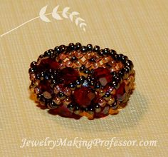 Weave together Swarovski Crystal bicone beads and two colors of seed beads to create this beautiful ring.