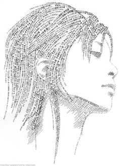 The use of typography to create a portrait. Although I do not find this the most inspirational piece, it again demonstrates the use of words to build up a general portrait. Creative Typography, Typography Poster, Typography Design, Inspiration Typographie, Typography Inspiration, Design Inspiration, Art And Illustration, Typography Portrait, Text Portrait