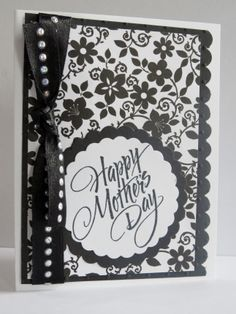 Handmade Mothers Day Card.  Black and White.
