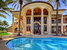 This stunning Mediterranean style estate in Fort Lauderdale, Florida is located on the waterfront with square feet of living space. A beautiful grand staircase welcomes you at the foyer upon entering the home. Mediterranean Style Homes, Mediterranean Architecture, Luxury Homes Dream Houses, Dream Homes, Grand Staircase, Waterfront Homes, Luxury Home Decor, Luxury Interior, Interior Design