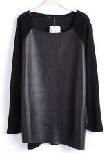 Black Long Sleeve Contrast PU Leather T-Shirt $28.48 #SheInside