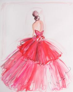 Christian Siriano Sketch, available for purchase on his website. Image of Ltd. Ed. Sketch Print (Series 1) - Not Signed Love to have a wall full of his pink prints on the closet wall. <3