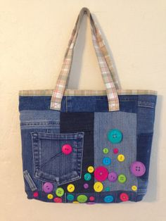 0fcc9eca914 Happy Buttons Jeans Bag by AonDesigns on Etsy,  40.00 Jean Purses, Denim  Crafts,