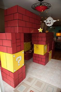 Brick and question boxes made from moving boxes. What a great party entrance these would make!