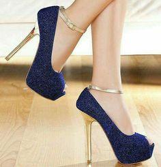 # Damesko # Dame-sneakers # Dame-flade Women Shoes Key: 3242922814 Damenschuhe These 😍🌶 Sparkly High Heels, Prom Heels, Glitter Heels, Blue Glitter, Blue Gold, Navy Blue, Purple Sparkle, Blue Sparkles, Blue Shoes