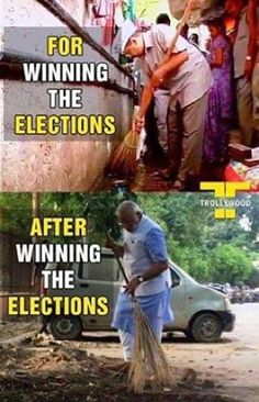 One for Winning the Elections (Kejriwal) and other After winning the Elections (Narendra Modi).. Kejriwal jokes Kejriwal oppose PM Narendra Modi move... as He used Zadoo to clean the India