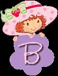 Alfabeto de Strawberry Shortcake con flor morada.