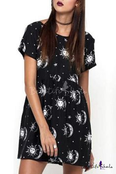Solar Print Gathered Waist Short Sleeve Round Neck Mini Dress