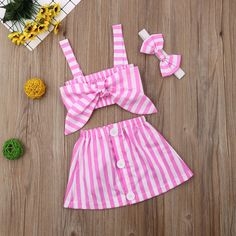 Girls Summer Outfits, Pink Outfits, Baby Outfits, Short Outfits, Baby Girl Clothes Summer, Cute Clothes For Kids, Summer Girls, Emo Outfits, Summer Tops