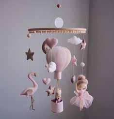 Heißluftballon - Ballerina Mobile - Flamingo Mobile - Mobile Be - Teddybär Mobile - Baby Mobile Girl - Baby Shower Geschenk - Baby Registry - Babyzimmer Baby Mädchen Mobile, Mobile Mobile, Baby Room Decor, Nursery Decor, Baby Activity, Diy Bebe, Baby Gym, Baby Yellow, Yellow Theme