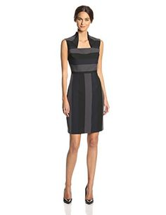 Marc New York By Andrew Women S Cap Sleeve Collared Striped Sheath Dress Anthracite