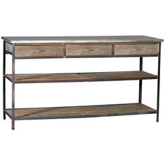 Creating decor with a story, Gabby's line of antique reproduction furniture retains the spirit of the European pieces that inspired it. The combination of metal and recycled pine gives the industrial-style Nicholas table a rustic touch. Its 2 slatted shelves and 3 drawers provide ample storage as a kitchen island, media console or dining room buffet. A clear lacquer finish protects its tin top.  $1208