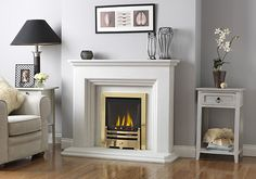 Fireplace Fire Surround 3 Step in White Limestone including Gas or Electric Fire Decor, Living Room Inspiration, Home Fireplace, Fireplace Suites, Fireplace Design, Family Room, Home Decor, Fireplace Surrounds, White Fireplace