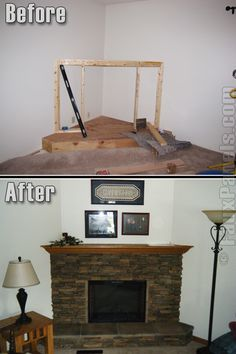 Home and Commercial Remodeling with Wellington Panels Faux Rock Wall Panels in Earth Corner Fireplace Mantels, Fake Fireplace, Bedroom Fireplace, Fireplace Surrounds, Fireplace Design, Fireplace Wall, Fireplace Ideas, Fireplace Drawing, Fireplace Kitchen