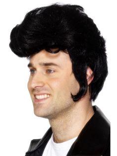 6e355bf1e0c142 Detalles de Para Hombre Elvis Rock Star peluca negra Quiff Danny Grasa  Fancy Dress Costume 42242- ver título original