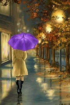 ''Walking'' (detail): Digital painting by Veronica Minozzi Rain Painting, Autumn Rain, Rain Art, Umbrella Art, Walking In The Rain, Anime Art Girl, Beautiful Paintings, Oeuvre D'art, Rainy Days