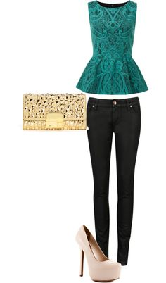 Yes to everything except the shoes. Make them velvet teal wedges 3 inch to 5 inch and make that purse black sparkle. I like when outfits have two colored schemes.