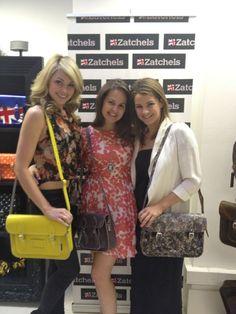 Georgia Horsley , Giovanna Falcone and Izzy Johnston at the #Zatchels Press day