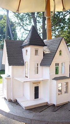looking glass miniatures: Fairfield Dollhouse Re-Hab Square tower windows?  The door to balcony looks okay.