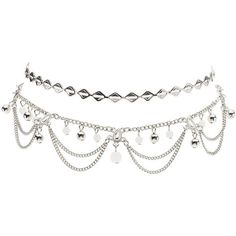 Charlotte Russe Embellished Choker Necklaces - 2 Pack ($6) ❤ liked on Polyvore featuring jewelry, necklaces, silver, silver choker, geometric necklace, silver charms, charm necklace and silver chain choker