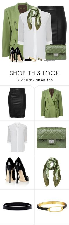 """""""Green,Black and White-Office"""" by honkytonkdancer ❤ liked on Polyvore featuring Jean-Paul Gaultier, Elie Tahari, Design Inverso, Jimmy Choo, La Fiorentina, L. Erickson, Marc by Marc Jacobs, 8, GREEN and blackandwhite"""