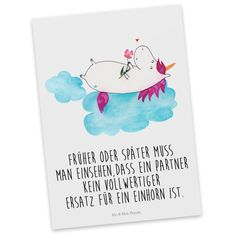 Postkarte Einhorn verliebt auf Wolke aus Karton 300 Gramm weiß - Das Original von Mr. & Mrs. Panda. Diese wunderschöne Postkarte aus edlem und hochwertigem 300 Gramm Papier wurde matt glänzend bedruckt und wirkt dadurch sehr edel. Natürlich ist sie auch als Geschenkkarte oder Einladungskarte problemlos zu verwenden. Jede unserer Postkarten wird von uns per hand entworfen, gefertigt, verpackt und verschickt. Über unser Motiv Einhorn verliebt auf Wolke Ein Einhorn Edition ist eine ganz…