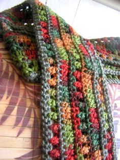 Harvest Rainbow Crochet Scarf