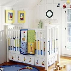 white and blue nursery