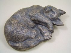"""RARE  LARGE POOLE POTTERY STONEWARE SLEEPING CAT. by Nicola Massarella GOOD CONDITION, NO CHIPS, CRACKS OR REPAIRS. THE CAT IS ABOUT 8 5/8"""" X 5 1/4"""".  POOLE IMPRESSED BACKSTAMP."""