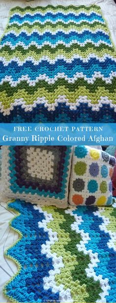 "#GrannyRipple Colored Afghan #FreeCrochetPattern #CrochetAfghan Blanket | size: 46""x48"" 