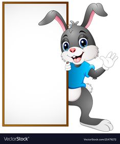 Cartoon bunny waving hand with blank sign Vector Image Borders For Paper, Borders And Frames, Page Borders Design, Flowery Wallpaper, Blank Sign, Kids Background, School Frame, Wedding Album Design, Creative Activities For Kids