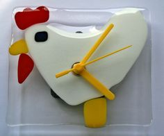 Eggscellent Time Piece   Fused Glass Chicken Clock  by IzzyBeads,