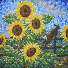 Sunflowers Painting - Sunflowers / White Tail Jumping by Jim Rehlin