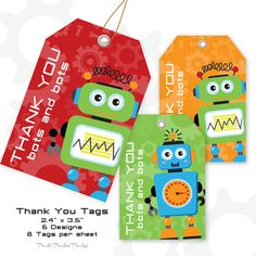 Robot Thank You Tag  Robot Favor Tag  by PartiPartieParty on Etsy