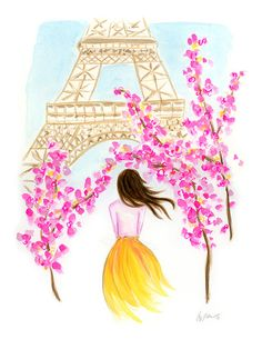 Paris in Spring  Watercolor Gouache Print by KaraEndres on Etsy, $25.00