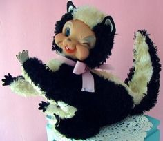 Vintage 1950s RUSHTON STAR CREATION TAG Rubber Face Character Rayon Plush Skunk