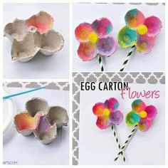 I had a few egg cartons left over from all of our egg dyeing festivities from Easter, so we decided to make some fun Spring themed crafts with them. I'm going to show you how to make these… Easy Mother's Day Crafts, Mothers Day Crafts For Kids, Spring Crafts For Kids, Art For Kids, Kid Art, Kids Fun, Kindergarten Crafts, Preschool Crafts, Easter Crafts