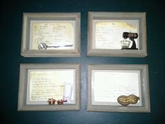 These are some of my grandmother's old recipes given a new life in 5x7 shadow box frames and a small trinket used in the recipe