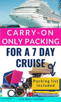 Planning a cruise, but want to pack light? Yes, it's actually possible to pack for a 7 night cruise in a carry on bag or small suitcase. Here's a packing list of cruise outfits and basic cruise essential items you'll want to bring for your cruise vacation. #cruise #cruisepacking #carryonpacking #cruisepackinglist #cruising #cruises Packing List For Disney, Packing List For Vacation, Packing For A Cruise, Cruise Tips, Cruise Travel, Cruise Vacation, Packing Lists, Cruise Ship Reviews, Best Cruise Ships