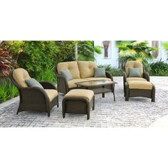 Found it at Wayfair - Newport 6 Piece Wicker Deep Seating Group with Cushions
