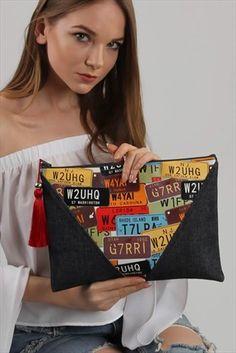 Kadın Plate Jean Diyagonal Clutch