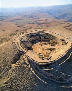 Birds eye view of King Herod's Tomb, Israel. Found in Herodium in by archaeologist Ehud Netzer, a Hebrew University professor who has been working at Herodium since Herod died in 4 B. in Jericho. Places Around The World, Oh The Places You'll Go, Places To Travel, Places To Visit, Ancient Mysteries, Ancient Ruins, Ancient History, Women's History, Ancient Egypt