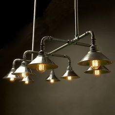 Home Lighting, Galvanised Plumbing Pipe Light Fixture For Kitchen Lighting Over Sink: Plumbing Pipe Light Fixture Industrial Light Fixtures, Industrial Lighting, Light Fittings, Vintage Lighting, Shop Fittings, Pipe Lighting, Cool Lighting, Lighting Design, Modern Lighting