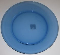 Transparent Blue 13-Inch Glass Charger Plate Platter by Anchor Hocking Company. $14.50