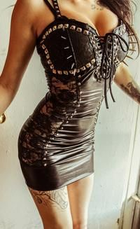 "Toxic Vision, ""Black Widow"" Leather and Lace Dress"